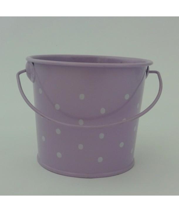 Osłonka na doniczkę metalowa - fioletowe małe wiaderko