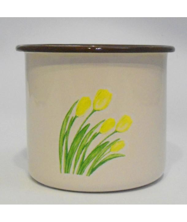 Garnek, rądel, kubek w kwiaty 0,4 litra Olkusz