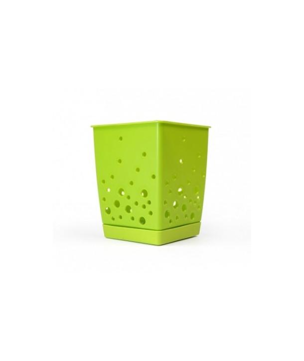 Ociekacz | koszyk na sztućce zielony kwiat
