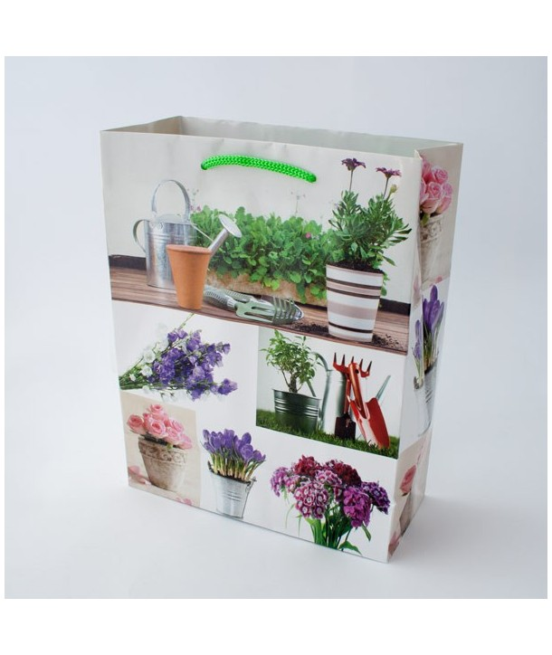 Papierowa torebka na prezent, kwiaty, bez, ogrodnik